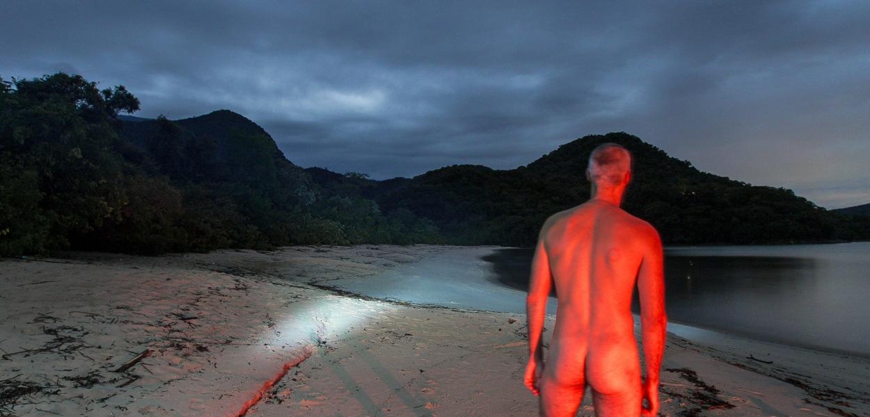 2013, Brazil, beach, naked, nude, back, butt, orange, forest, sea, sky, cloud, shore